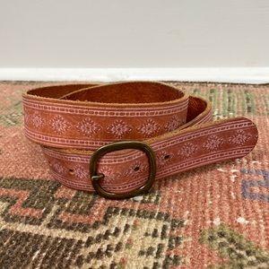 BOHO Pink Tooled Leather Belt S Hippie Festival